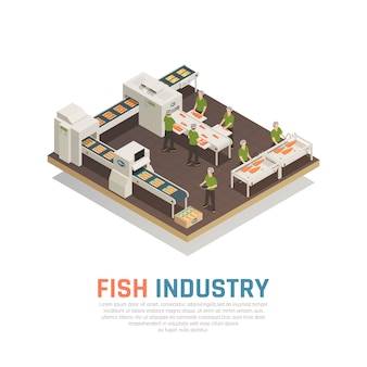 Fábrica de peixes isométrica