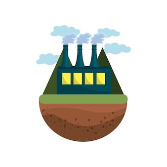 Fábrica de poluição contaminando o ambiente do planeta