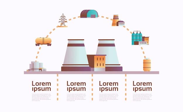 Fábrica edifício ícone infográfico modelo planta com canos e chaminé