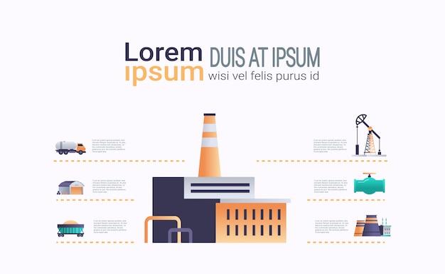 Fábrica edifício ícone infográfico modelo planta com chaminé de tubo