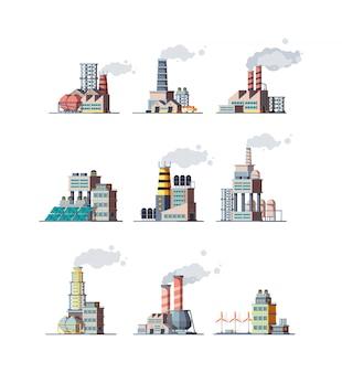 Fábrica. edifícios industriais fumam ilustrações de plantas modernas