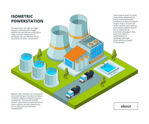 Fábrica elétrica, usina de geração de energia elétrica ferramentas edifícios com turbinas tubos de produção suporte isométrico edifícios Vetor Premium