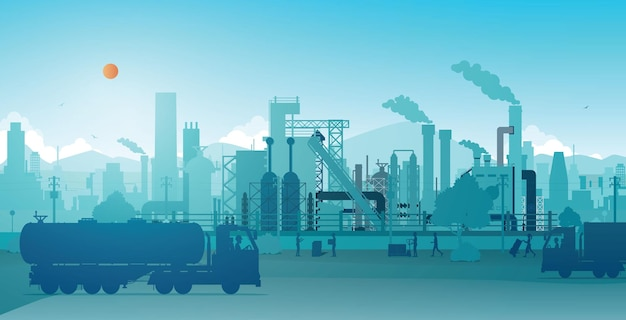 Fábrica industrial com céu