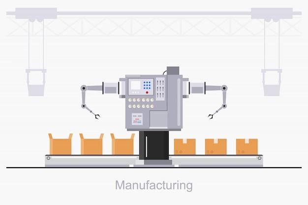 Fábrica industrial inteligente em um estilo simples com trabalhadores, robôs e linha de montagem de embalagem.