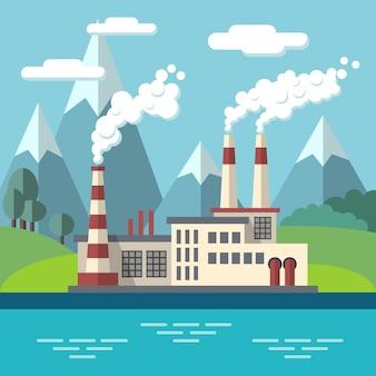 Fábrica industrial plana ecologia vector conceito fundo