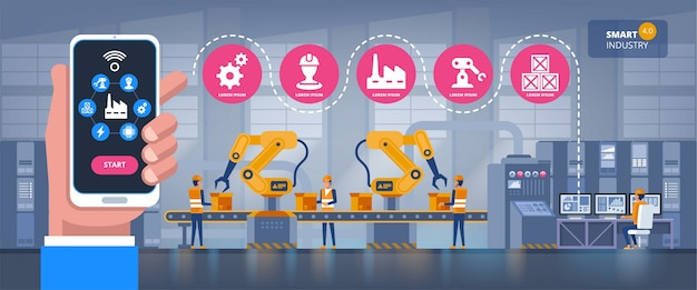 Fábrica inteligente. aplicativo de monitoramento da indústria em um smartphone e s