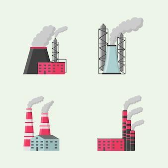 Fábrica ou industrial edifício design plano conjunto de ícones de estilo. fábricas, armazém, transportador e outras instalações industriais. conjunto de manufaturas industriais, construção de ícones.