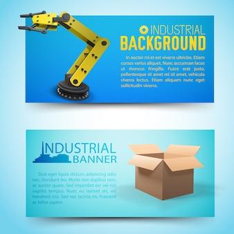Fabricação de banners horizontais com equipamento robótico amarelo e caixa de papelão