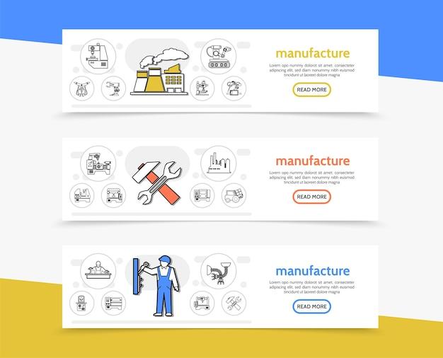 Fabricação de banners horizontais com ferramentas de trabalho de fábrica, equipamentos industriais engenheiros de maquinários