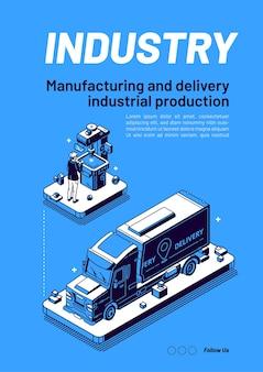 Fabricação de banners isométricos da indústria