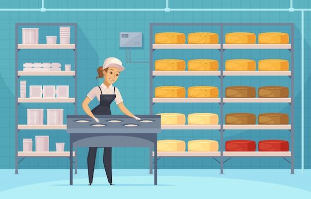 Fabricação de ilustração de produtos lácteos