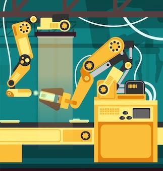 Fabricação de linha de montagem automática com braços robóticos. tecnologia e conceito de vetor de engenharia