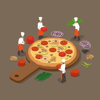 Fabricação de pizza isométrica