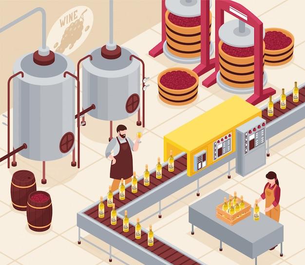 Fabricação de vinho com prensagem de uvas, transportador de engarrafamento e envelhecimento da bebida em ilustração isométrica de barris