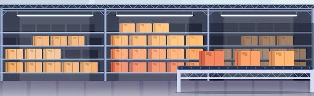 Fabricação linha de montagem produção industrial transportadora produção vazio ninguém moderno armazém interior plana horizontal banner