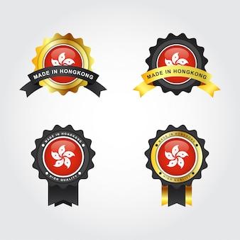 Fabricado em hong kong com etiquetas de emblema