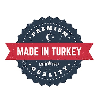 Fabricado na turquia, distintivo vintage, emblema, carimbo