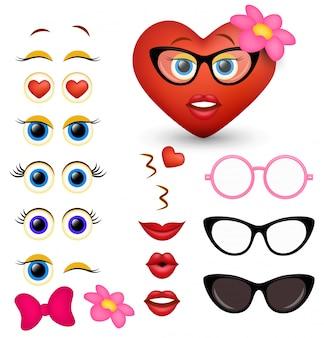 Fabricante de emoji de coração vermelho feminino, criador de emoticon