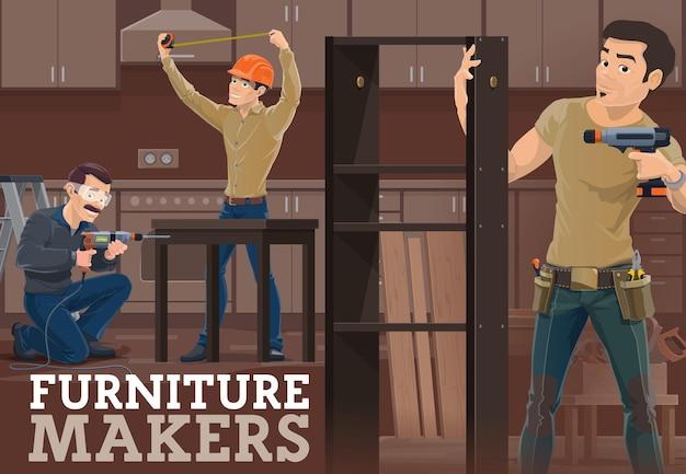 Fabricante de móveis medindo cozinha, montando mesa