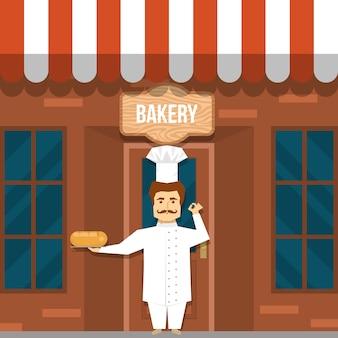 Fabricante de pão perto de design de padaria com homem bigodudo em uniforme branco sob a tabuleta de madeira