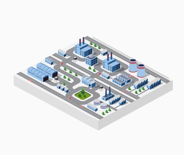 Fábricas, armazéns e edifícios de escritórios em áreas urbanas de grandes cidades