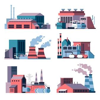 Fábricas e instalações de empresas com fumaça