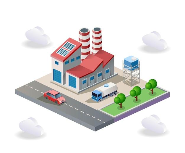 Fábricas e reservatórios da companhia de água