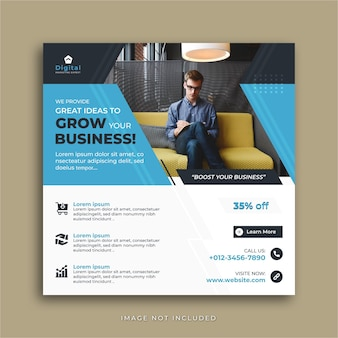 Faça crescer o seu negócio, agência de marketing digital e folheto corporativo elegante, post de instagram de mídia social square ou modelo de banner da web