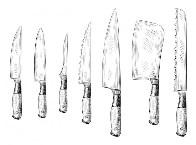 Faca de jantar desenhada de mão. facas de chef vintage, conjunto de ilustração de faca de cozinha gravada
