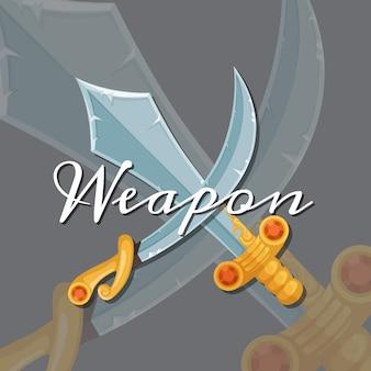 Faca de lâmina e jogo de sabre militar