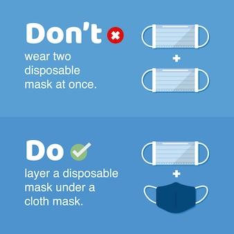 Faça e não faça como usar máscara de camada dupla. ilustração em vetor estilo simples