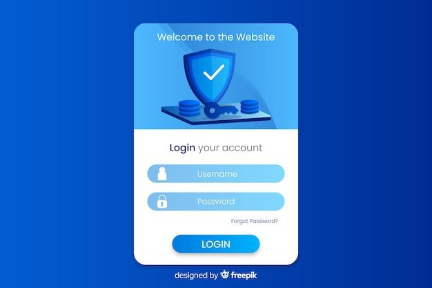 Faça login na página de destino com design plano