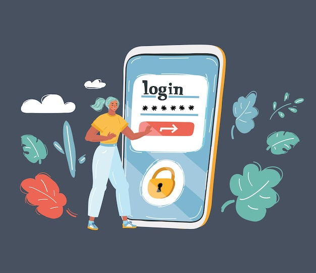 Faça login na tela do smartphone
