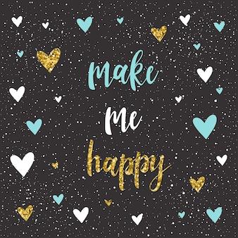 Faça-me uma citação feliz. letras manuscritas e coração artesanal isolado no preto. esboço feito à mão para design de t-shirt, cartão de casamento, convite, pôster de dia dos namorados, brochuras, caderno, álbum etc.