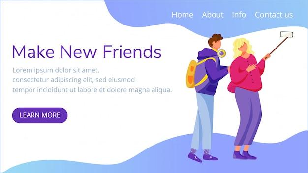 Faça novos amigos para o modelo da página de destino. tomando selfie site interface idéia com ilustrações planas. layout da página inicial da geração do milênio. capturando momentos web banner, conceito de desenho de página da web