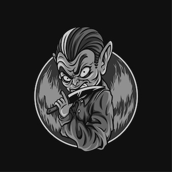 Faca olhos para matar ilustração preto e branco do halloween
