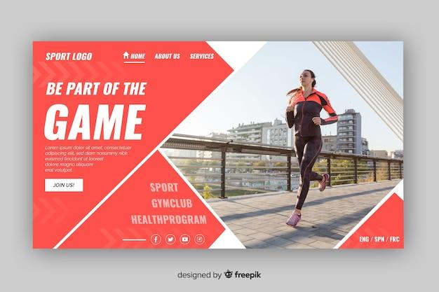 Faça parte da página de destino do esporte de jogo
