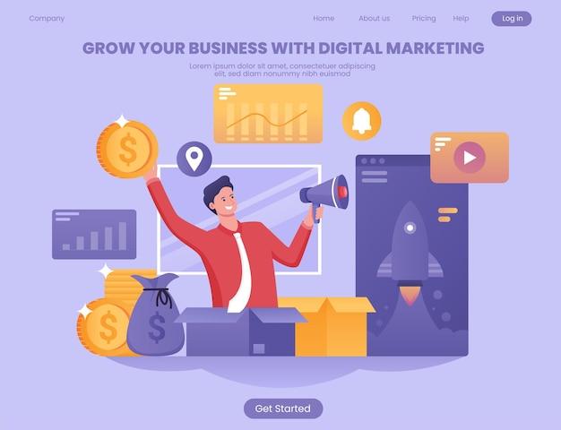 Faça seus negócios crescerem com o conceito de ilustração plana de marketing de mídia social
