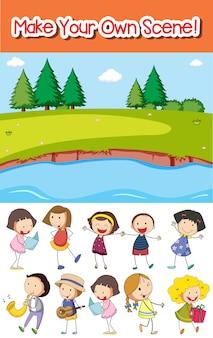 Faça sua própria cena de parque ou fundo com crianças