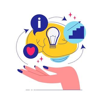 Faça um brainstorm sobre a composição do trabalho em equipe com a mão humana e os ícones do cérebro com a ilustração dos símbolos do coração e da lâmpada.