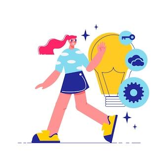 Faça um brainstorm sobre a composição do trabalho em equipe com a personagem de uma mulher ambulante com uma lâmpada com chave de engrenagem e ilustração de ícones de nuvem