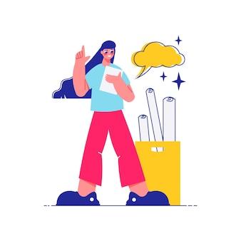 Faça um brainstorm sobre a composição do trabalho em equipe de uma personagem feminina com uma nuvem de pensamento e um monte de esboços de ilustração