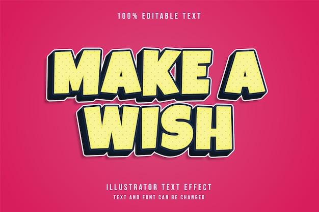 Faça um desejo, efeito de texto editável estilo de texto em quadrinhos com gradação amarela