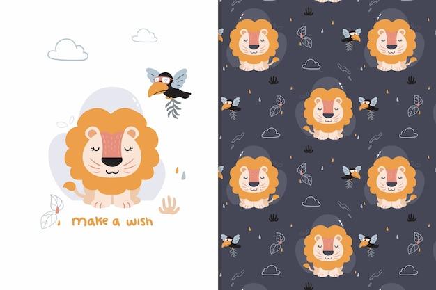 Faça um desejo padrão de leão