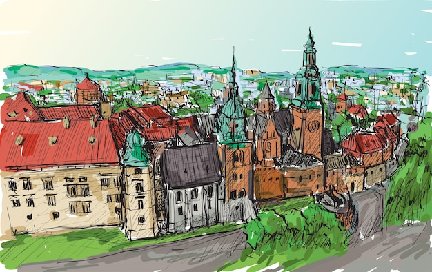 Faça um esboço das torres do castelo de cracóvia na polônia, desenho à mão livre