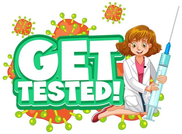 Faça um teste de ilustração em estilo de desenho animado com uma personagem de desenho animado de uma médica