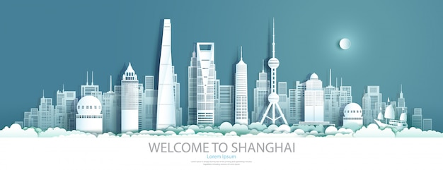 Faça um tour pelo centro da china em xangai com arranha-céus urbanos.