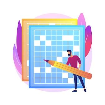 Faça uma ilustração do conceito abstrato de palavras cruzadas e sudoku. fique em casa, jogos e quebra-cabeças, mantenha seu cérebro em forma, tempo gasto com auto-isolamento, atividade de lazer em quarentena.