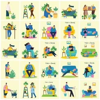 Faça uma pausa ilustração colagem. as pessoas descansam e tomam café, usam tablet na cadeira e no sofá. estilo simples.