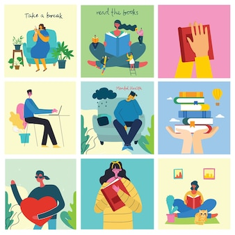 Faça uma pausa no conjunto de ilustrações. as pessoas descansam e tomam café, usam tablet na cadeira e no sofá. estilo moderno simples.